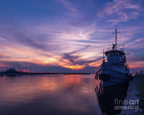 A Tugboat Sunset Art Print