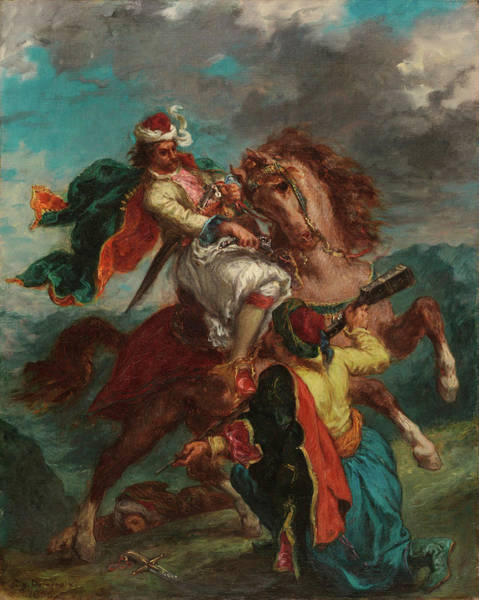 Surrendering Painting - A Turk Surrenders To A Greek Horseman by Ferdinand Victor Eugene Delacroix