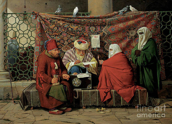 Tapestries Textiles Wall Art - Painting - A Turkish Notary Drawing Up A Marriage Contract  by Martinus Rorbye