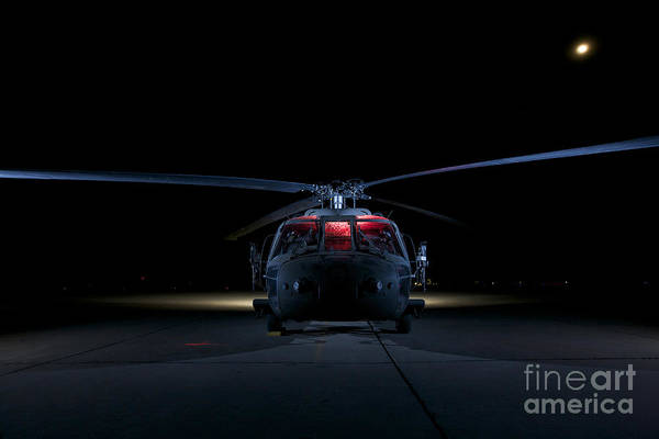 Rotor Photograph - A Uh-60 Black Hawk Helicopter Lit by Terry Moore