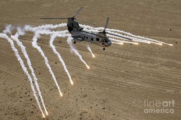 Iraqi Photograph - A U.s. Marine Corps Ch-46 Sea Knight by Stocktrek Images
