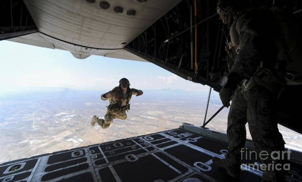 Base Jumping Photograph - A U.s. Soldier Conducts A Training Jump by Stocktrek Images