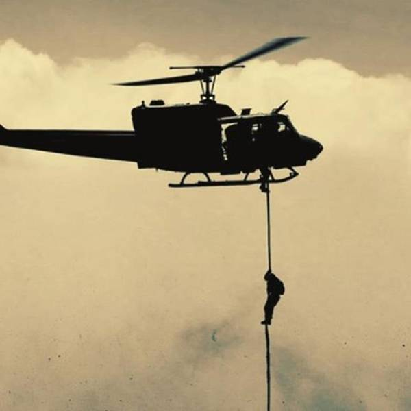 Military Photograph - A #usmc #marine Conducts A Fast Rope by Alex Snay
