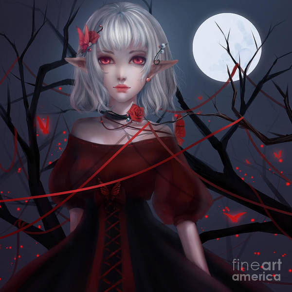 Wicked Witch Digital Art - a vampire, a wandering Darkness Lolita by Henela White