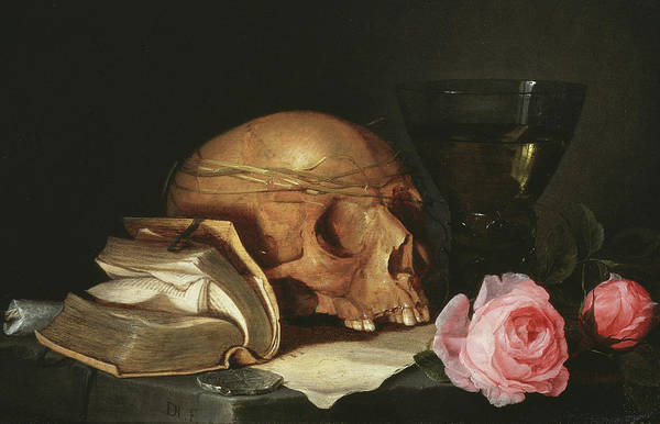 Goth Painting - A Vanitas Still Life With A Skull, A Book And Roses by Jan Davidsz de Heem