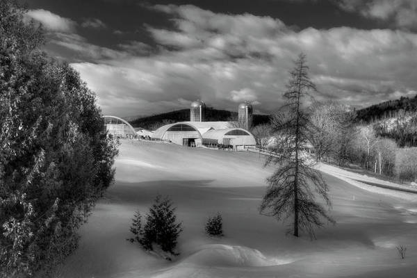 Photograph - A Vermont Farm In Winter - Black And White by Joann Vitali