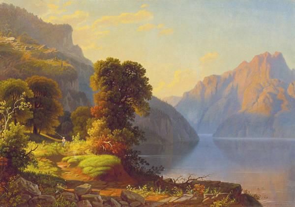 Wall Art - Painting - A View Of A Lake In The Mountainscirca 1856 by George Caleb Bingham