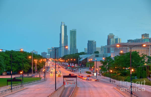 A View Of Columbus Drive In Chicago Art Print