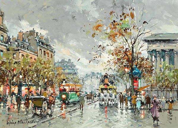 Wall Art - Painting - A View Of La Madeleine by Antoine Blanchard