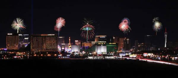 Wall Art - Digital Art - A View Of Las Vegas Strip Fireworks Looking North by Derrick Neill