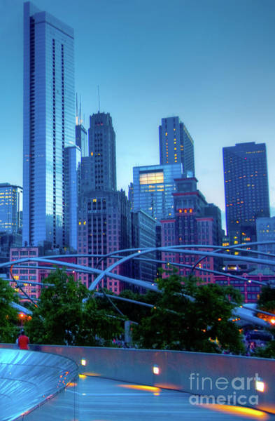 A View Of Millenium Park From The Amoco Bridge In Chicago At Dus Art Print