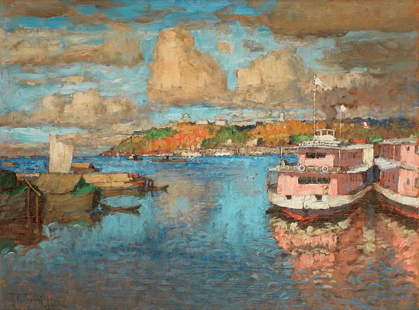 Russian River Painting - A View Of Nizhny Novgorod by Konstantin Ivanovich Gorbatov