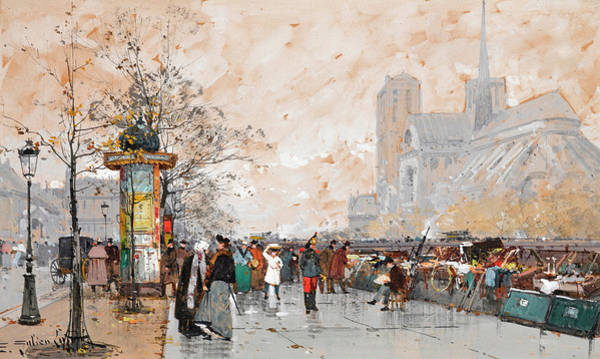 Notre Dame Painting - A View Of Notre-dame Cathedral by Eugene Galien-Laloue