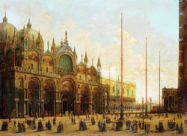 Wall Art - Painting - A View Of St. Mark's Basilica,venice by Giuseppe Bernardino Bison