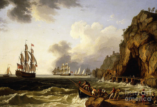 Flying The Flag Wall Art - Painting - A View Of The Coast Near Naples With A British Royal Navy Three-decker by Jacob-Philippe Hackert