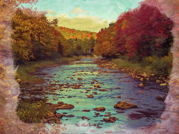 Photograph - A View Of The Deerfield River Running Through Fall Foliage. by Rusty R Smith