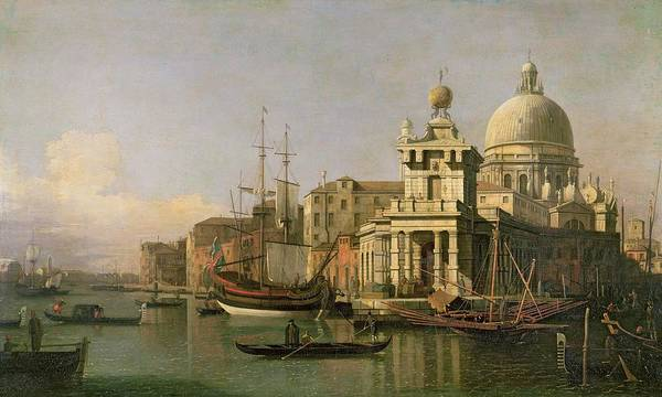 Dome Painting - A View Of The Dogana And Santa Maria Della Salute by Antonio Canaletto