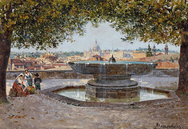 Vatican Painting - A View Of The Vatican From The Medici Gardens by Antonietta Brandeis
