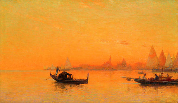 A View Of Venice At Sunset Art Print