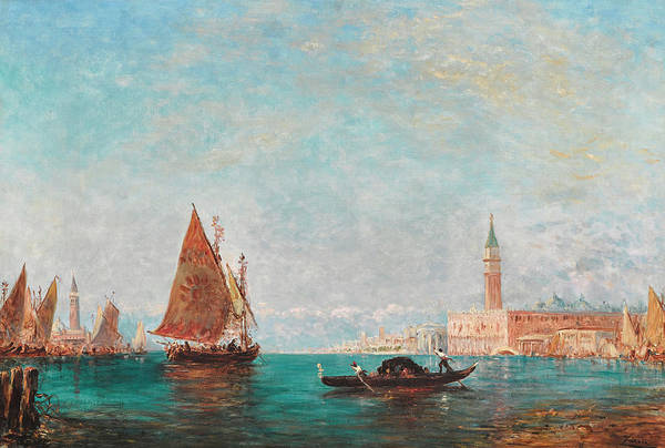 Point Of View Wall Art - Painting - A View Of Venice With St. Mark's Beyond by Felix Ziem