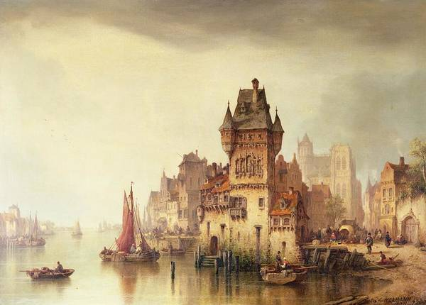 Mooring Painting - A View On The River Dordrecht by Ludwig Hermann