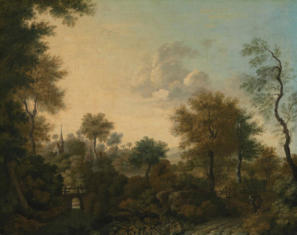 Wall Art - Painting - A View Supposedly Near Arundel, Sussex, With Figures In A Lane by George Smith
