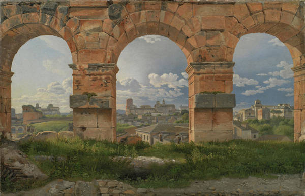 Collapse Painting - A View Through Three Of The North-western Arches Of The Third Storey Of The Coliseum In Rome by Christoffer Wilhelm Eckersberg