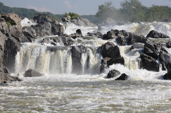 Digital Art - A View Up Great Falls On The Potomac With Watercolor Effect by William Kuta