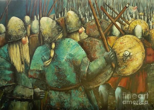 Plaits Painting - A Viking Skirmish by Kaye Miller-Dewing