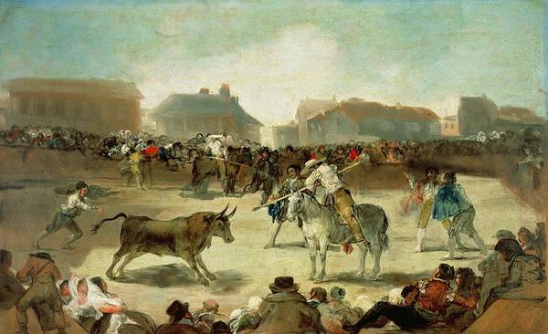 Matador Wall Art - Painting - A Village Bullfight  by Goya