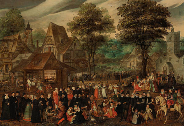Beyond Painting - A Village Festival With Elegantly Dressed Figures In Procession by Joris Hoefnagel