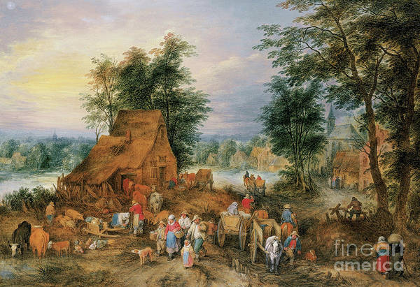 Wall Art - Painting - A Village Scene With Peasants At Work by Theobald Michau