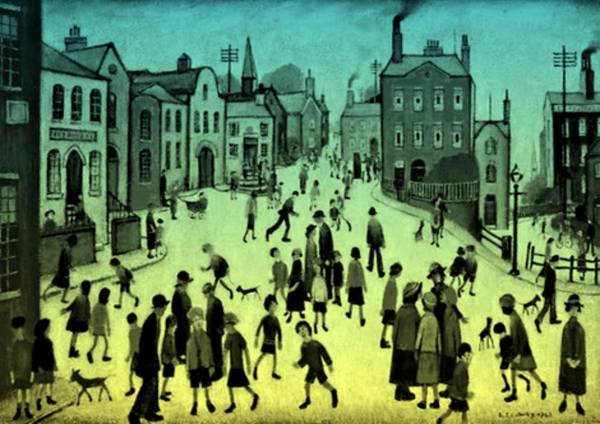 Greater Manchester Wall Art - Painting - A Village Square - Lemon Tint by LS LOWRY Tinted By Devorah Fraser