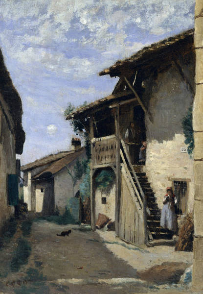 Painting - A Village Street - Dardagny by Jean-Baptiste-Camille Corot