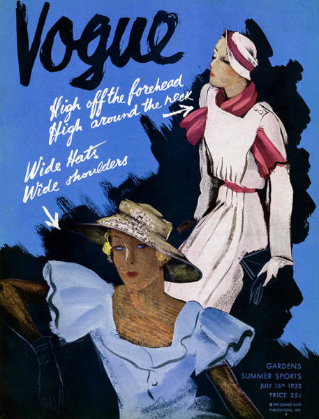 Photograph - A Vintage Vogue Magazine Cover Of Two Woman by William Bolin