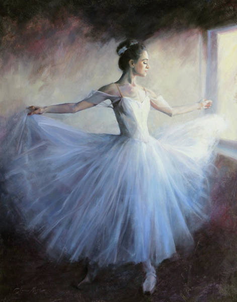 Ballerinas Painting - A Vision In Blue by Anna Rose Bain