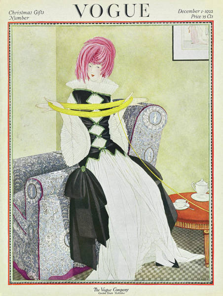 1922 Photograph - A Vogue Cover Of A Woman With Yarn by George Wolfe Plank