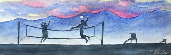 Volley Painting - A Volley At Dusk by Belinda Balaski