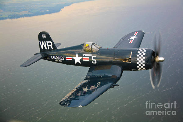 Military Photograph - A Vought F4u-5 Corsair In Flight by Scott Germain
