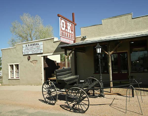 Tombstone Arizona Photograph - A Wagon At The O.k. Corral, Tombstone, Arizona by Derrick Neill