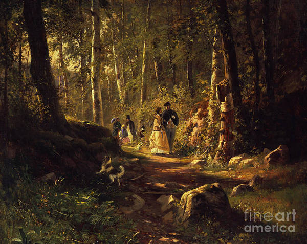 Border Collie Painting - A Walk In A Forest, 1869  by Ivan Ivanovich Shishkin