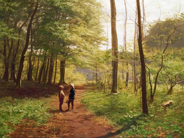 Brothers Painting - A Walk In The Forest by Niels Christian Hansen