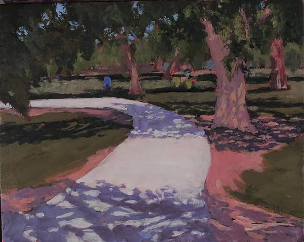 Jogging Painting - A Walk In The Park - Art By Bill Tomsa by Bill Tomsa