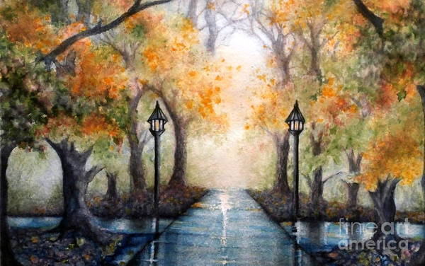 College Campus Painting - A Walk In The Park In Autumn - Wide Horizon by Janine Riley