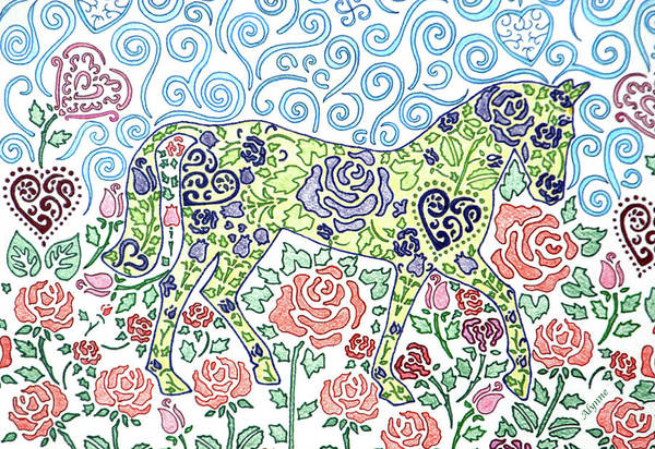 Wall Art - Drawing - A Walk Through The Roses by Alynne Landers
