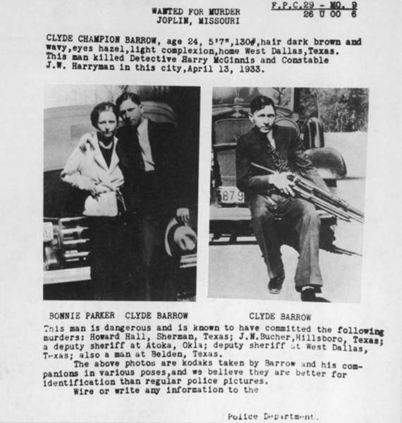 Robbers Photograph - A Wanted Poster For Bonnie And Clyde by Everett
