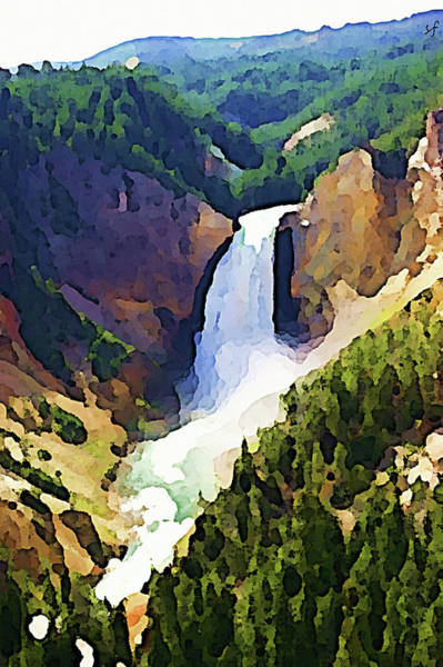 Digital Art - A Waterfall At Yellowstone  by Shelli Fitzpatrick