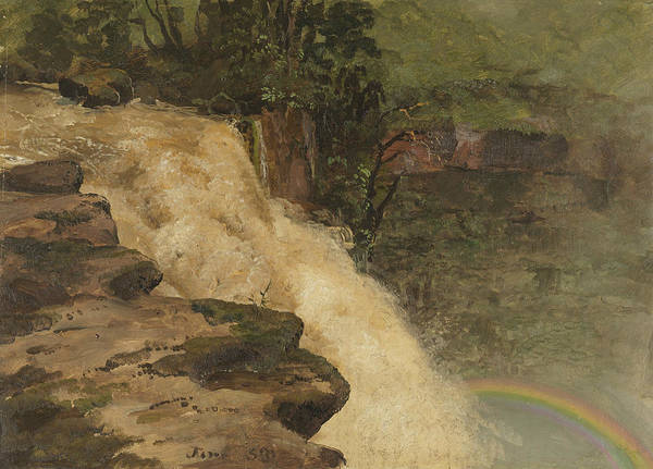 Colombian Wall Art - Painting - A Waterfall In Colombia by Frederic Edwin Church