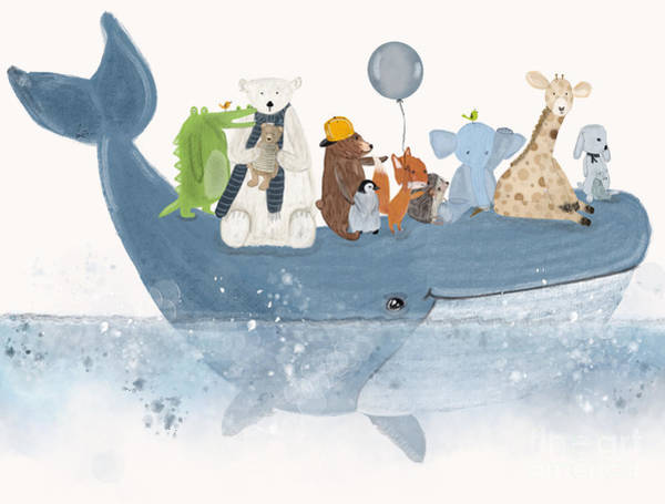 Baby Boy Painting - A Whale Of A Time  by Bri Buckley