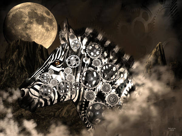 Digital Art - A Wild Steampunk Zebra by Artful Oasis